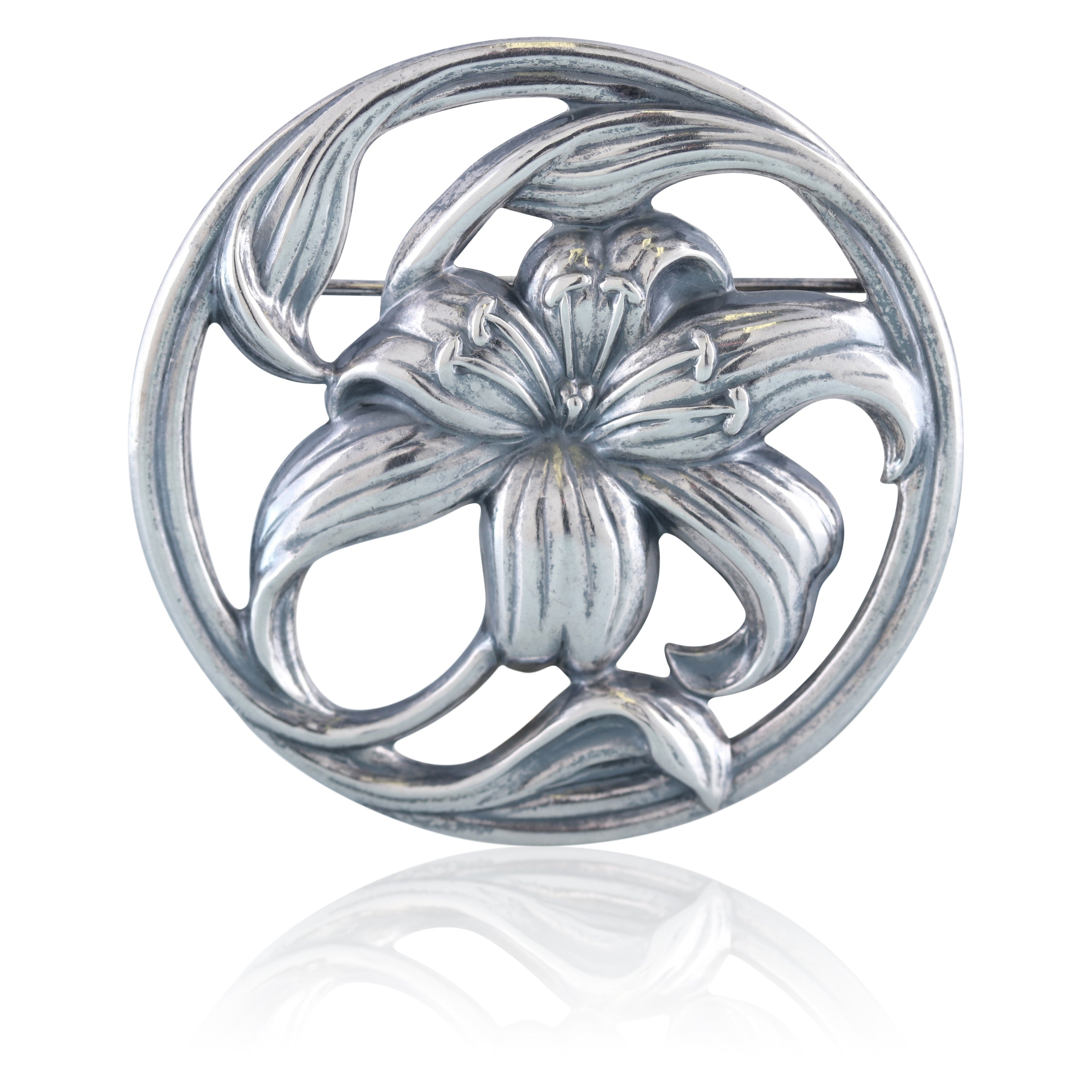 Sterling Silver Art Nouveau Flower Pin | The Franklin