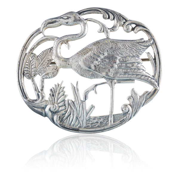 Sterling Silver Art Nouveau Ibis Pin | The Joaquin
