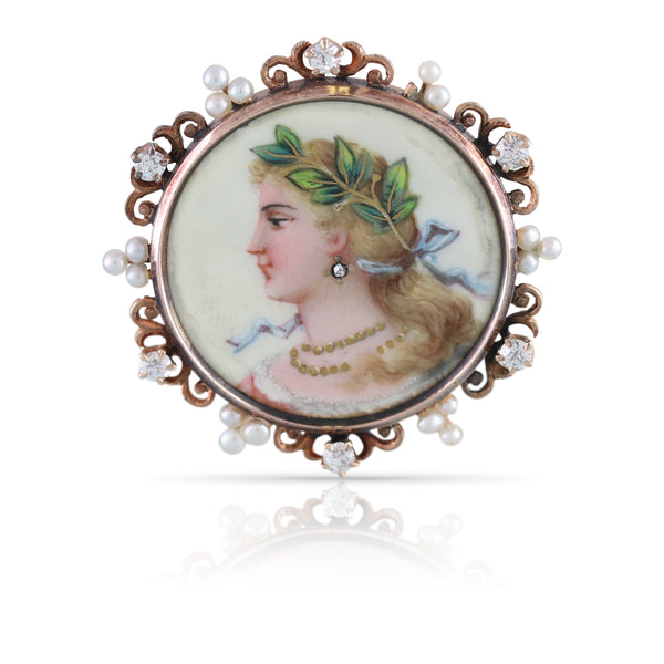 Hand Enameled Cameo Pin | The Ansel