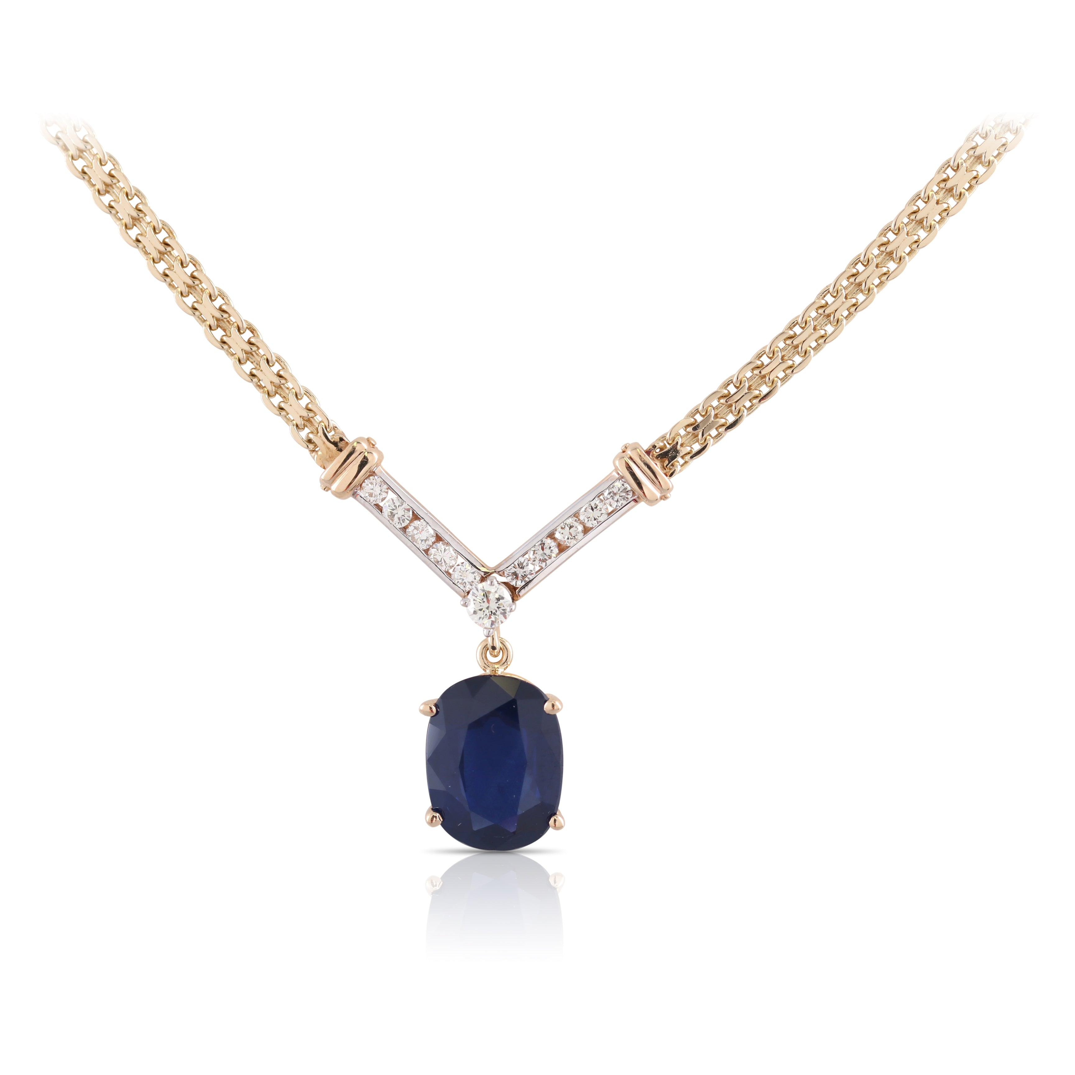 Sapphire and Diamond Pendant Necklace | The Ingrid