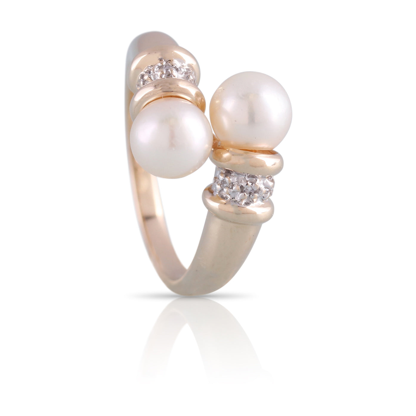 Pearl and Diamond Bypass Ring | The Claudia