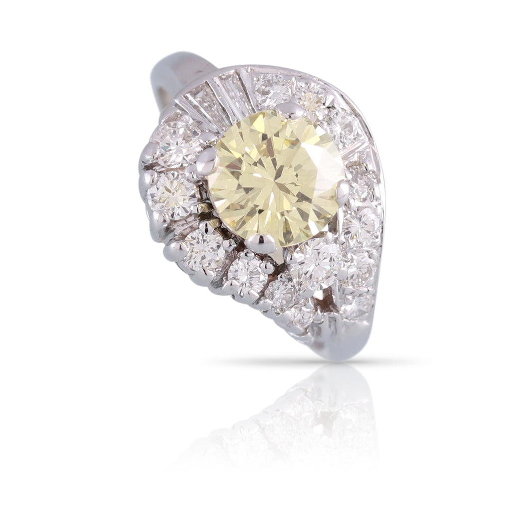 Yellow Diamond Halo Ring | The Julius