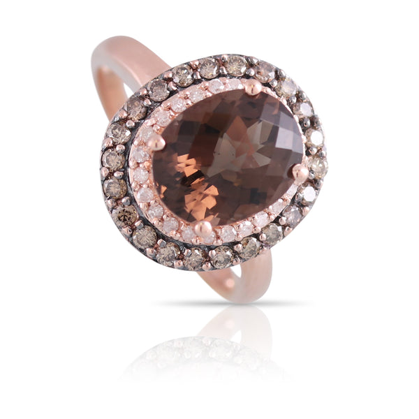 Smoky Quartz and Diamond Halo Ring | The Hailey