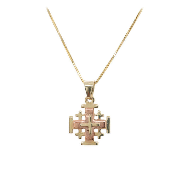 Tri Tone Jerusalem Cross Necklace