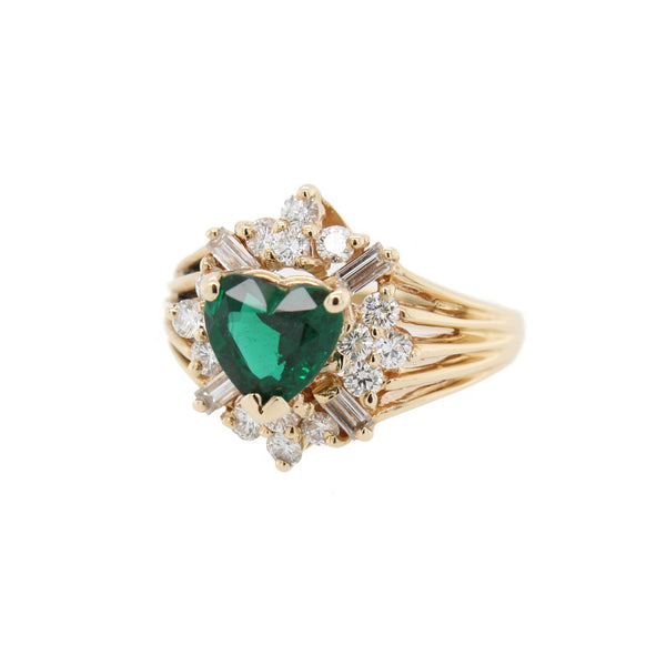 Heart Shaped Emerald Ring
