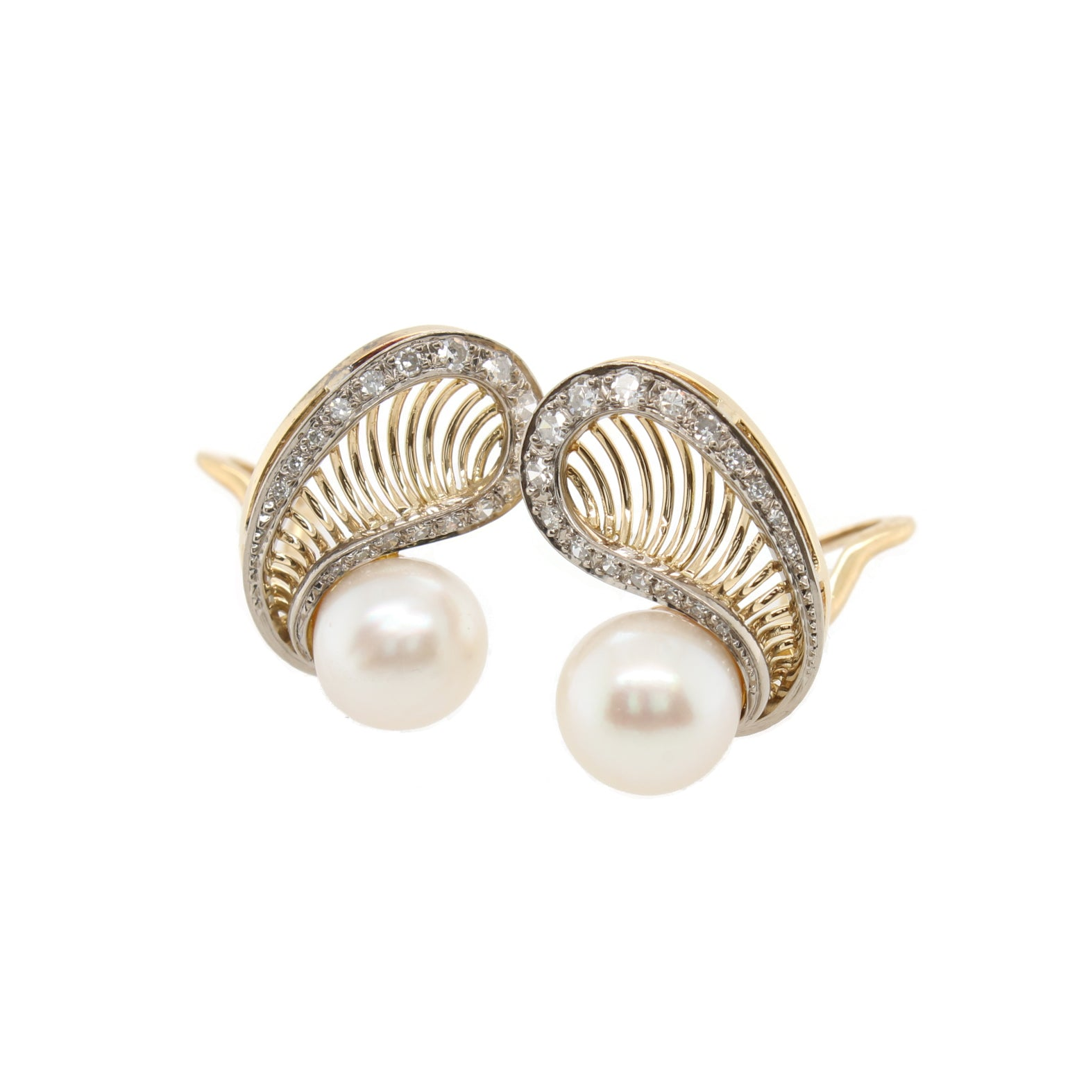 Pearl and Diamond Shell Earrings