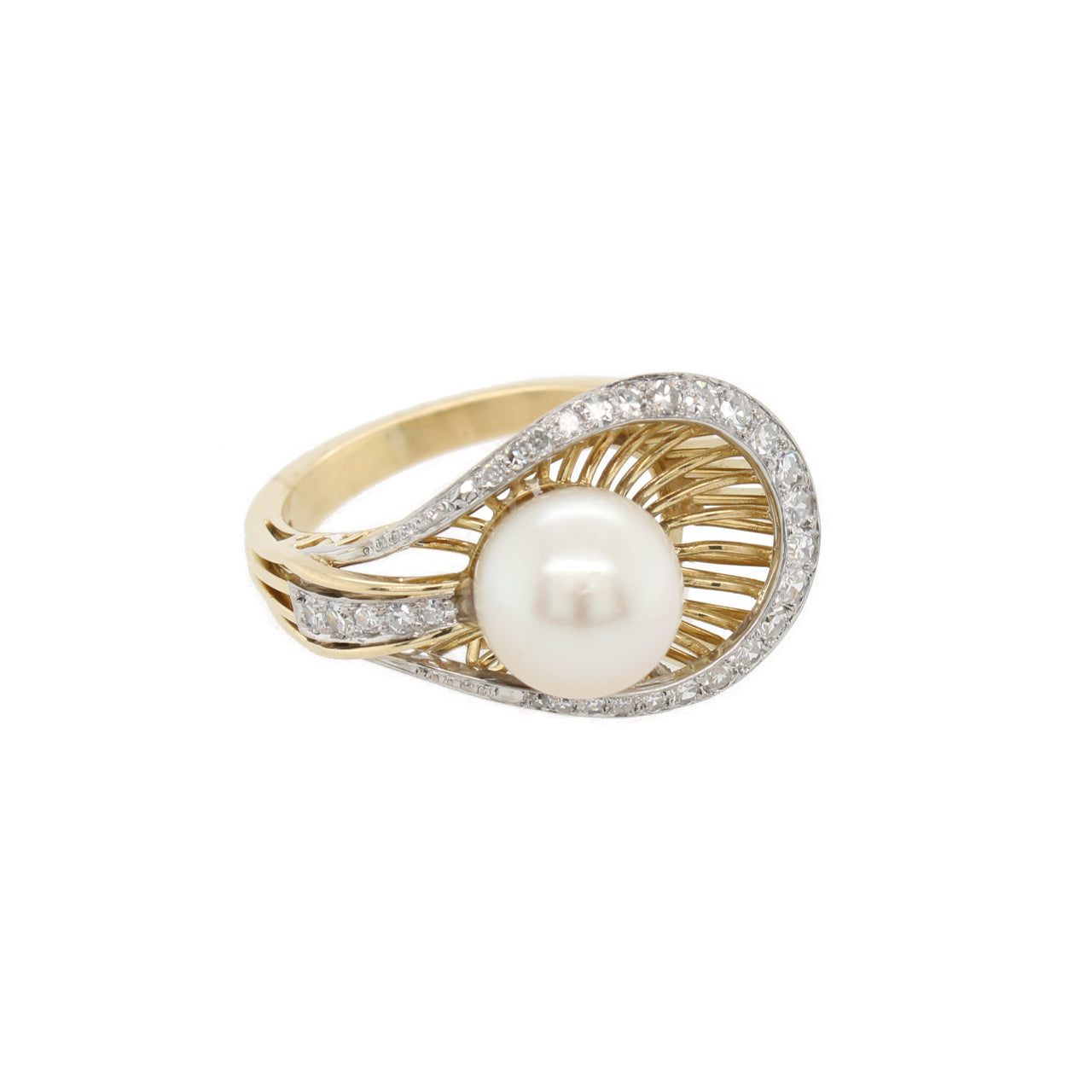 Pearl and Diamond Shell Ring