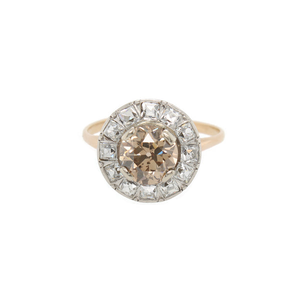 Chocolate Diamond Round Halo Ring