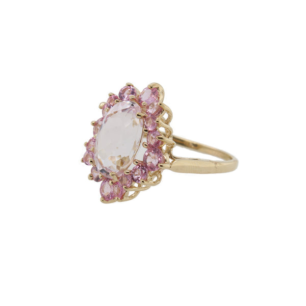 Kunzite and Pink Sapphire Halo Ring