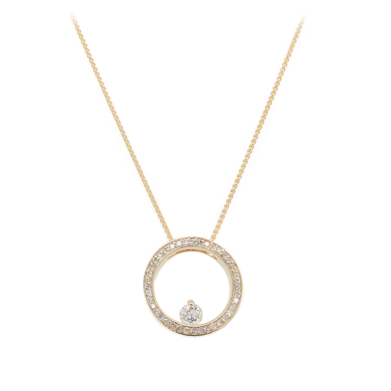 Diamond Circle Pendent Necklace