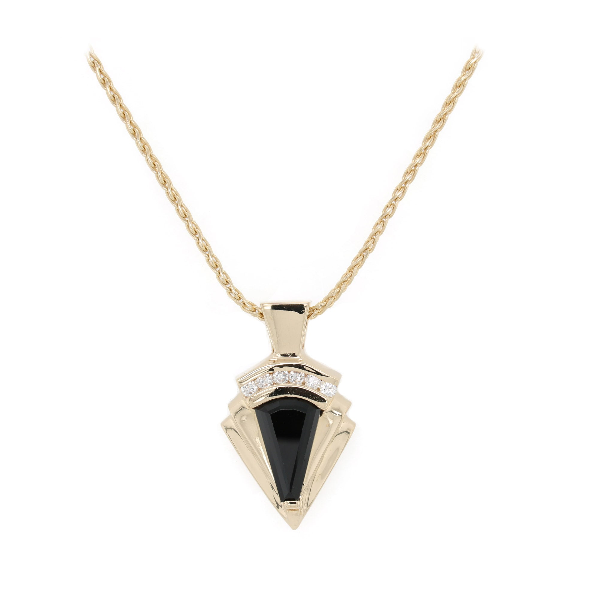 Black Onyx Art Deco Pendant Necklace