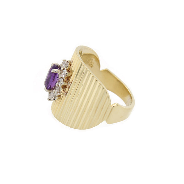 Oval Amethyst Engraved Ring