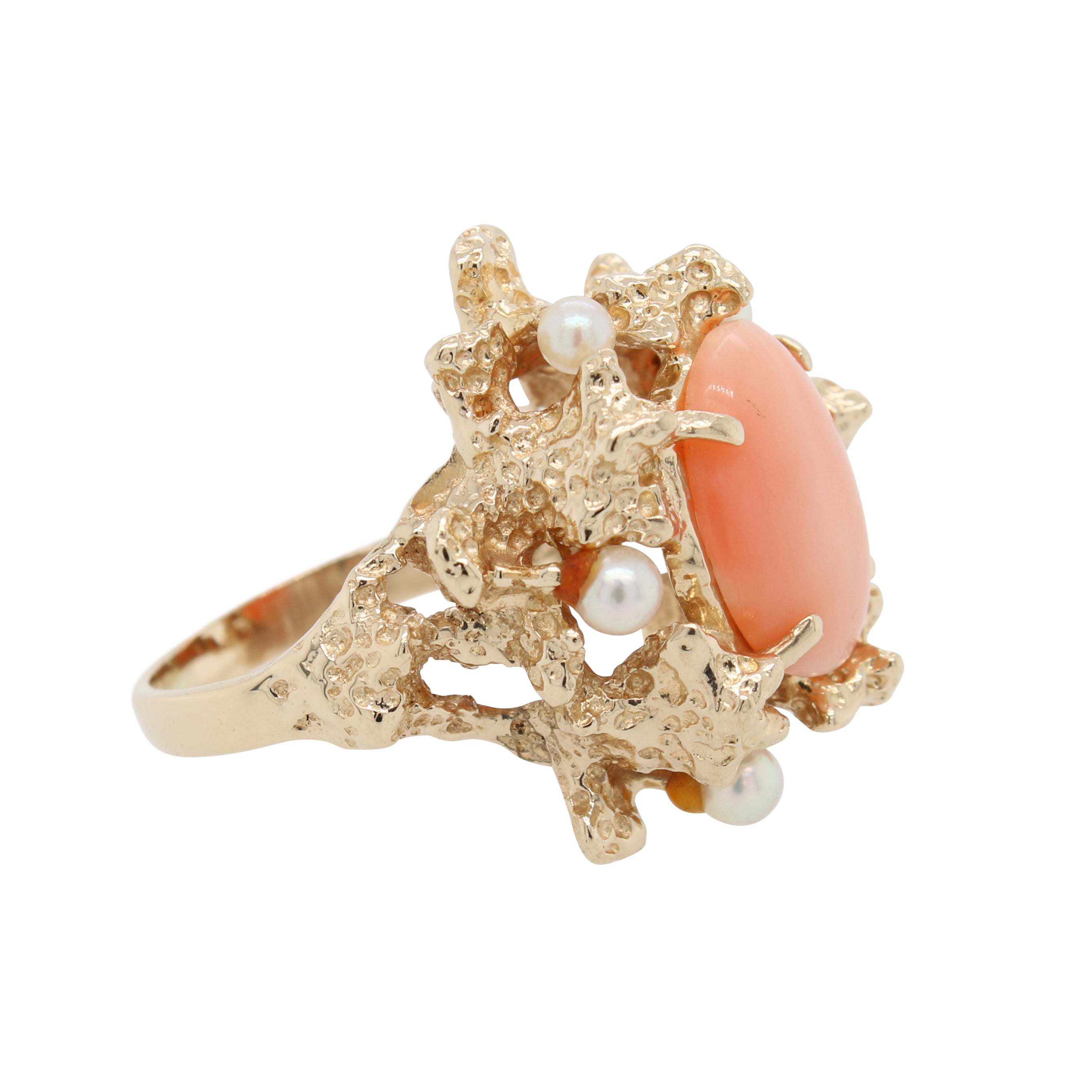 Oval Shaped Coral and Pearl Ring