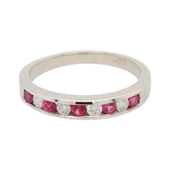 9 Stone Diamond and Ruby Ring