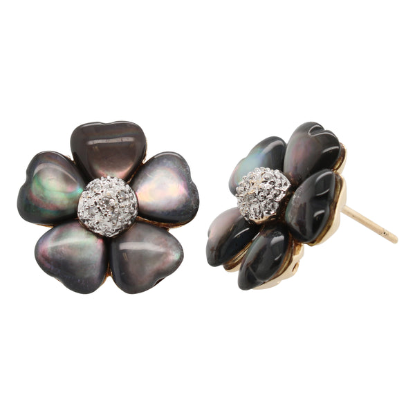 Black Mother of Pearl and Diamond Flower Earrings