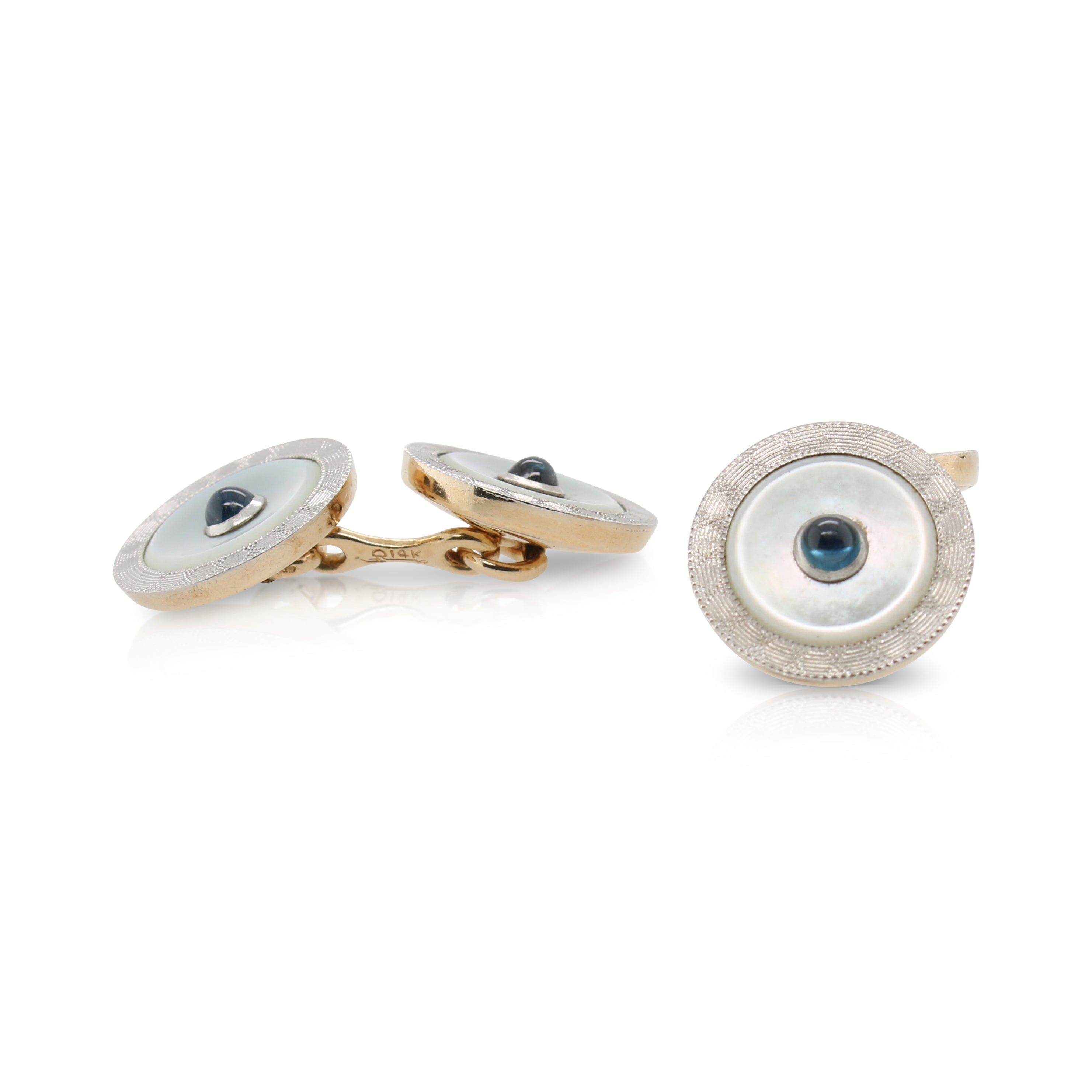 Mother of Pearl and Sapphire Cuff Links