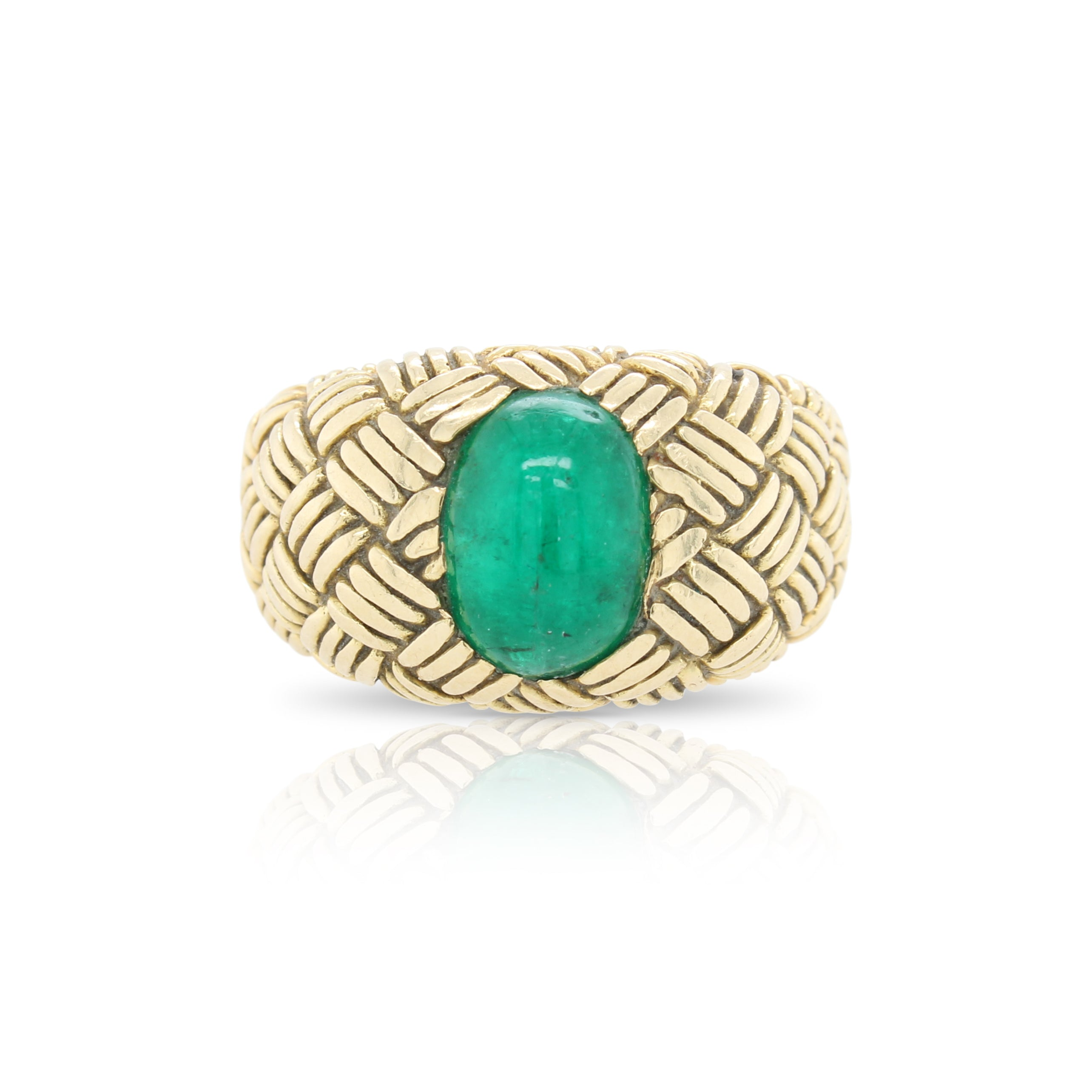 Engraved Emerald Ring