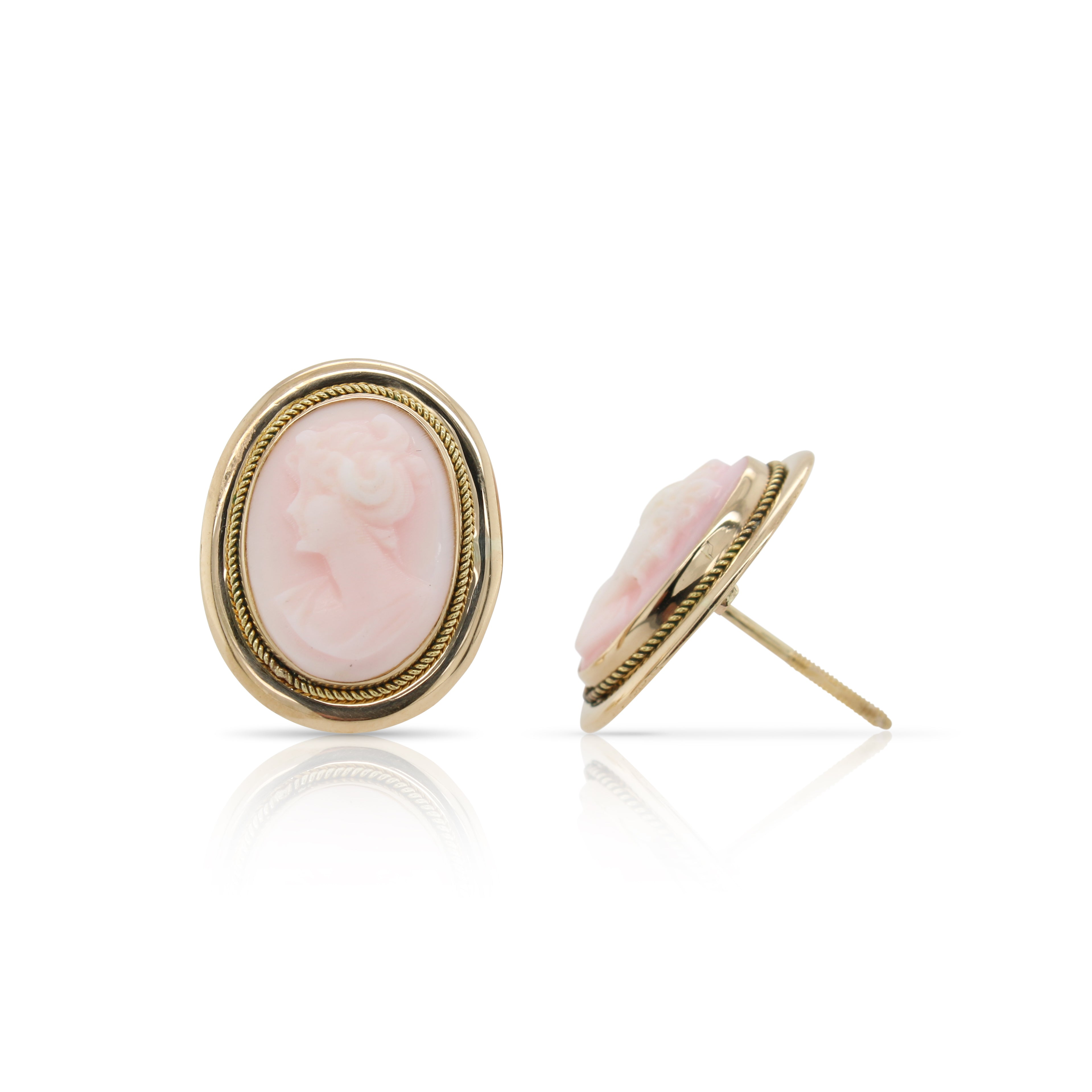 Pink Oval Cameo Earrings