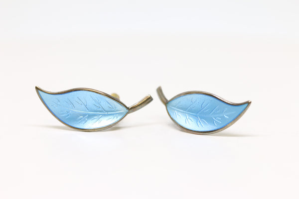 Mid-century Blue Enamel Leaf Earrings | The Bonnie
