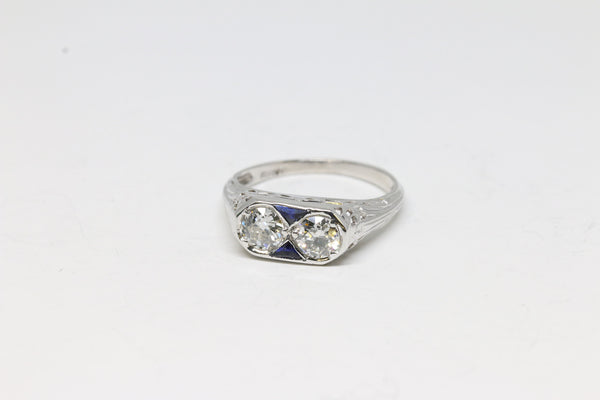 Art Deco Two Stone Diamond Ring | The Daphne