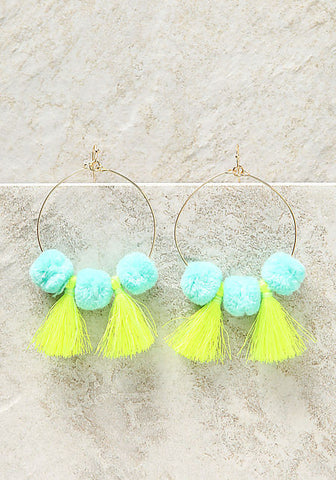 POM POM TASSEL HOOP EARRINGS
