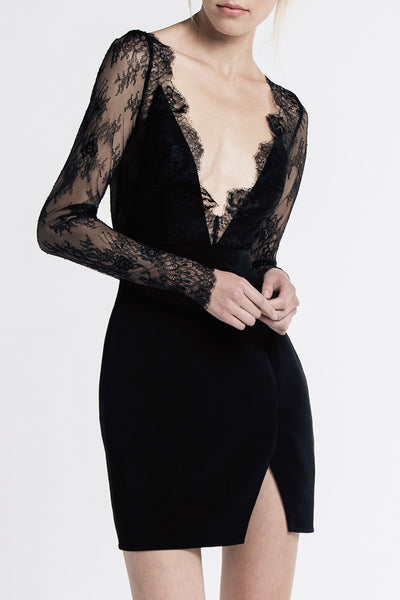 ALLENDE LACE DRESS. BLACK LACE DRESS BY STYLESTALKER. MINI DRESS