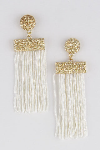 GOLD RIMMED TASSEL EARRINGS
