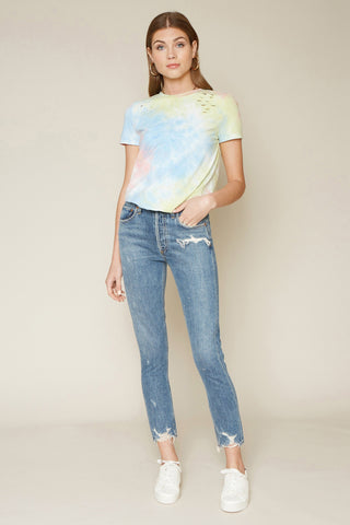 DISTRESSED TIE DYE TEE