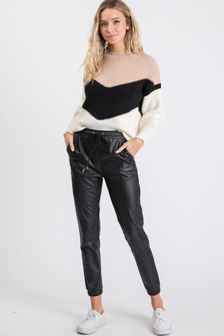 FAUX LEATHER JOGGER PANTS