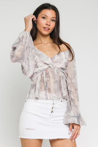 OFF SHOULDER TWIST BLOUSE