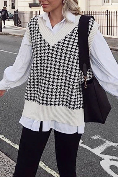 HOUNDSTOOTH SWEATER VEST