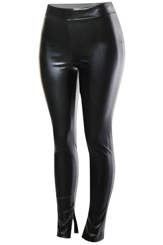 FAUX LEATHER SPLIT HEM LEGGINGS