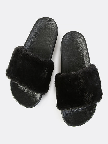 FURRY SLIDES - BLACK