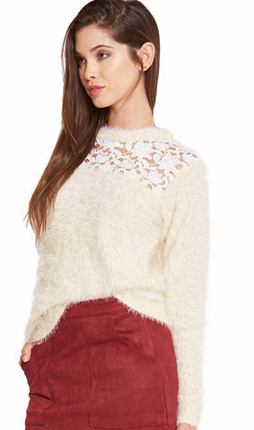 MOHAIR GUIPERE LACE SWEATER - SHOP MĒKO