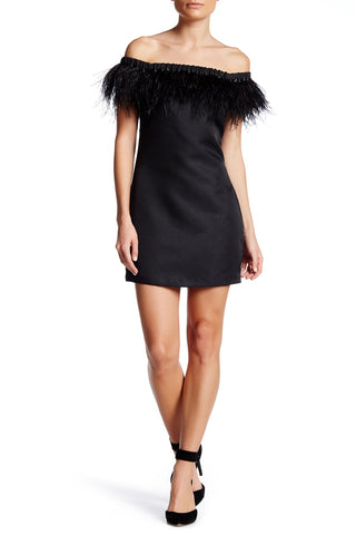 OFF SHOULDER FEATHER DRESS - SHOP MĒKO