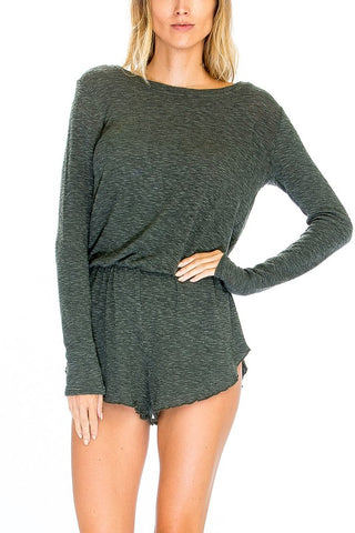 HEATHER KNIT LOUNGE ROMPER