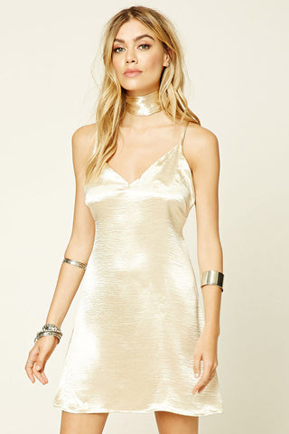 CHOKER SLIP DRESS CHAMPAGNE - SHOP MĒKO