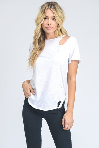 DISTRESSED CUT OUT TEE