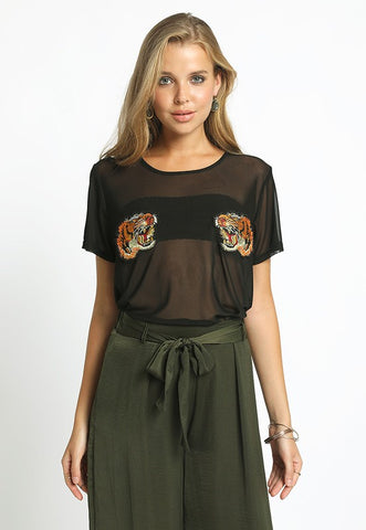 TIGER PATCH MESH TOP