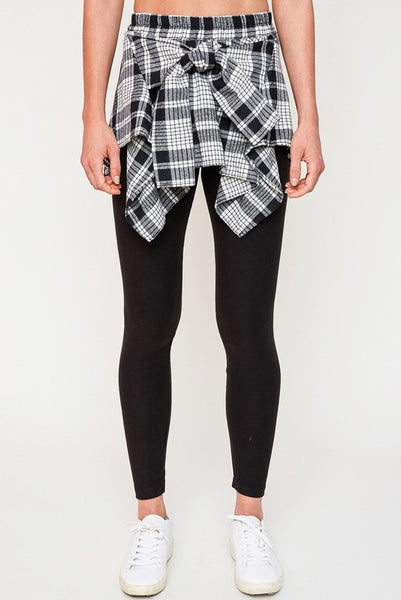 PLAID TIE OVER LEGGINGS