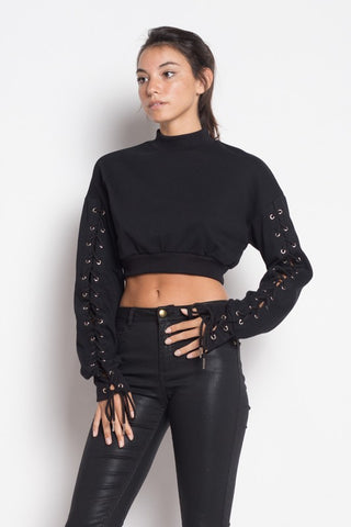 LACED UP CROPPED SWEATSHIRT - BLACK