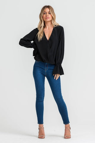 FRILL SLEEVE WRAP BLOUSE