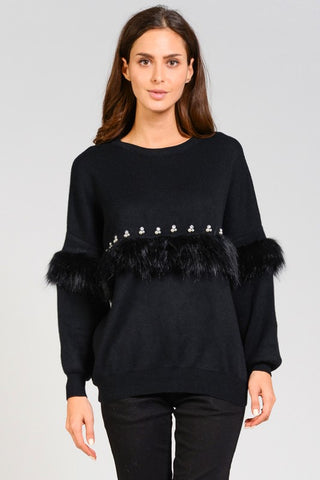 DARIA FAUX FUR PEARL SWEATER