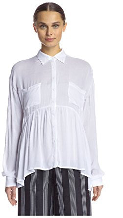 FLOUNCY BUTTON UP TOP