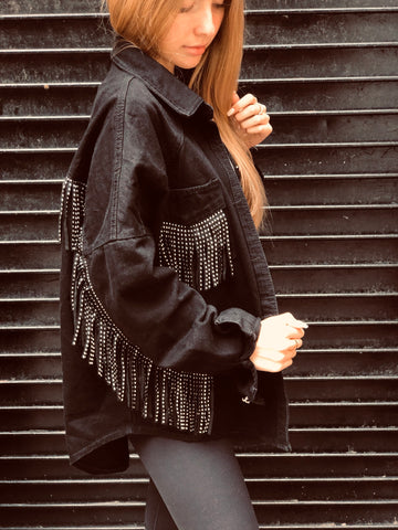 STUDDED FRINGE DENIM JACKET