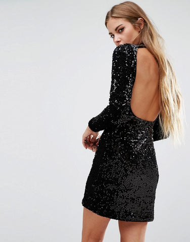 SEQUIN RUBY ROSE BODYCON DRESS
