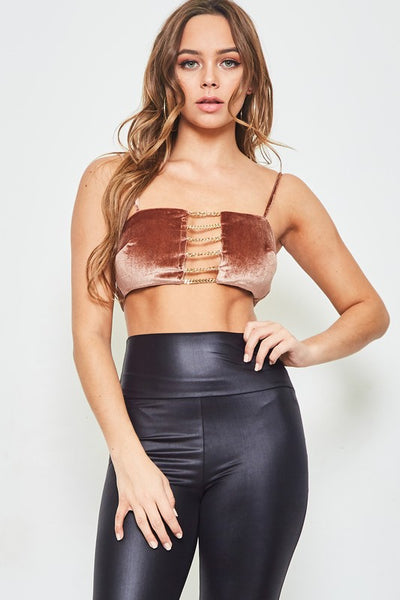 VELVET CHAIN CROP TOP