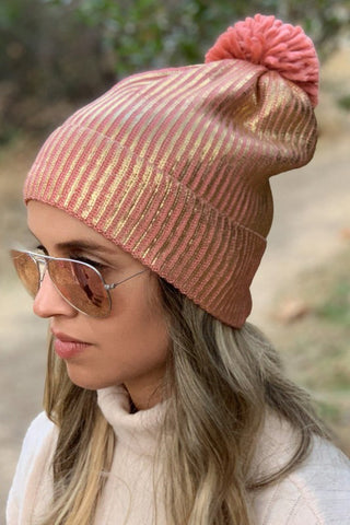 RIBBED METALLIC POM BEANIE