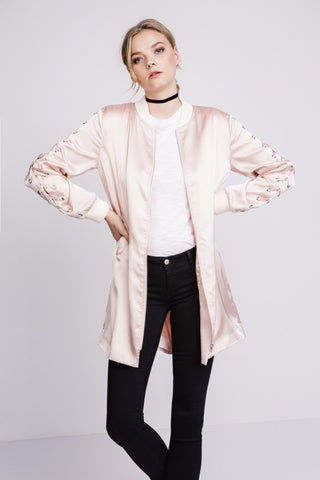 LONG LACE UP BOMBER - SHOP MĒKO