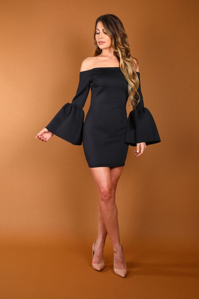 ALL SHE WANTS BELL SLEEVE DRESS